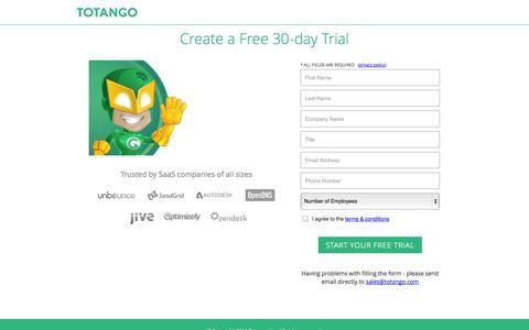 Screenshot of Trial Page totango.com - Free trial | Totango - captured Sept. 17, 2014