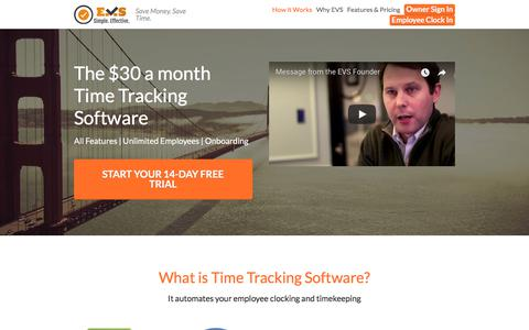 Screenshot of Home Page execvs.com - EVS - Cleaning Company Employee Time Tracking Software - captured July 9, 2018
