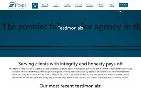 Screenshot of Testimonials Page fordinsurance.net - Testimonials | Insurance Company & Agency in Michigan - captured Dec. 19, 2018