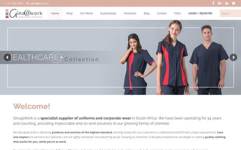 Screenshot of Home Page gina.co.za - Corporate Clothing | Corporate Wear For Sale | Gina@Work - captured Nov. 9, 2018