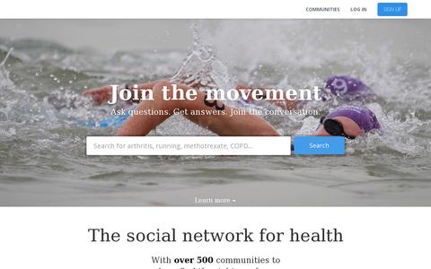 Screenshot of Home Page healthunlocked.com - HealthUnlocked | The social network for health - captured July 17, 2014