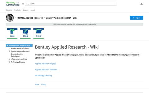 Bentley Applied Research - Wiki - Bentley Applied Research - Wiki - Bentley Applied Research - Bentley Communities
