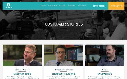 Screenshot of Case Studies Page creare.co.uk - Creare's Customers Stories - captured Dec. 14, 2016