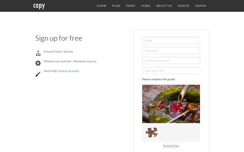 Screenshot of Signup Page capy.me - Capy - Sign up - captured July 18, 2014