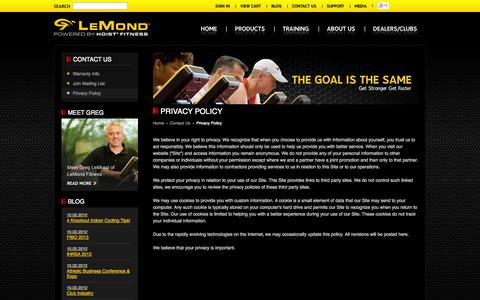 Screenshot of Privacy Page lemondfitness.com - LeMond powered by HOIST Fitness | Contact Us | Privacy Policy - captured Sept. 16, 2014