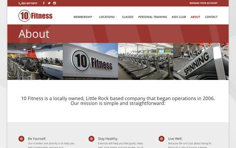 Screenshot of About Page 10fitness.com - About - 10 Fitness - captured Feb. 24, 2016