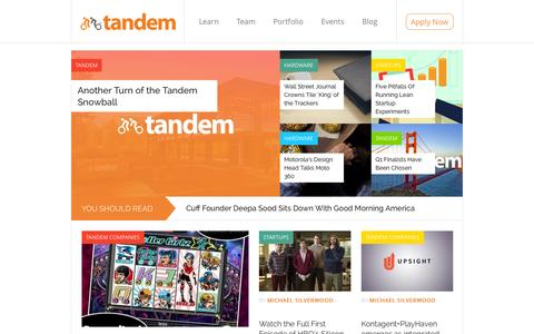 Screenshot of Blog tandemcap.com - Blog | Tandem – Silicon Valley's Mobile Acceleration Fund - captured Sept. 19, 2014