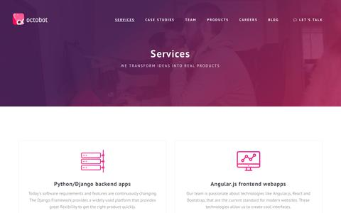 Screenshot of Services Page octobot.io - Octobot - Services - captured Nov. 7, 2017