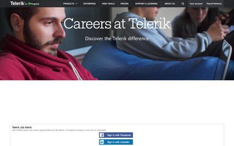Screenshot of Jobs Page telerik.com - Careers at Telerik - captured Oct. 26, 2016