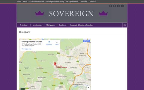 Screenshot of Maps & Directions Page sovifa.co.uk - Sovereign Financial Services   » Directions - captured Feb. 15, 2016