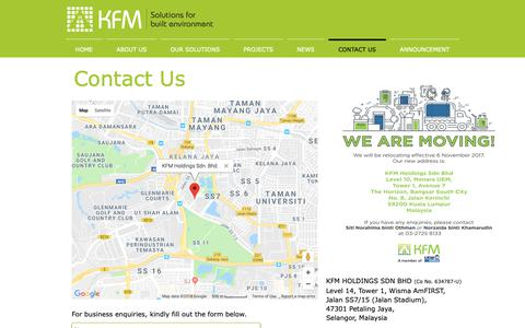 Screenshot of Contact Page kfmsolutions.com.my - Contact Us - captured Oct. 15, 2018