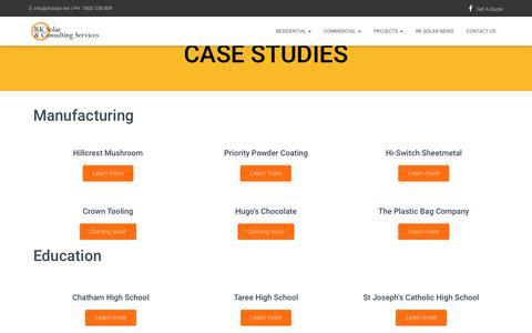 Screenshot of Case Studies Page rksolar.net - Commercial Solar Case Studies - RK Solar - captured April 20, 2019