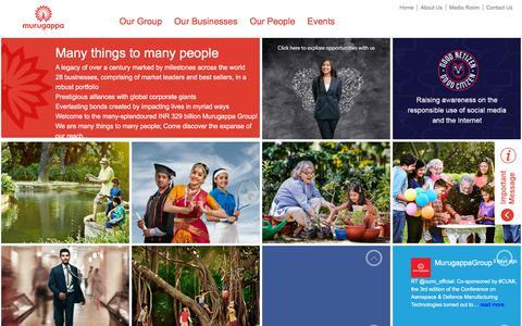 Screenshot of Home Page murugappa.com - Murugappa Group | INR 329 Billion | 28 Businesses - captured Sept. 22, 2018