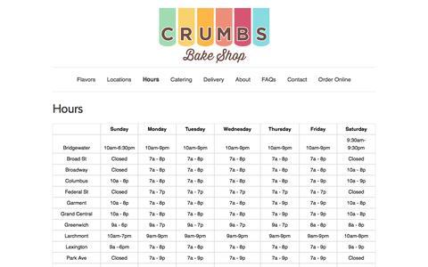 Screenshot of Hours Page crumbs.com - Hours � Crumbs - captured Dec. 4, 2015