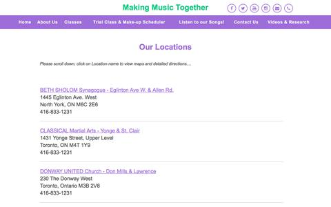 Screenshot of Locations Page makingmusictogether.com - Making Music Together | Music Classes for Toddlers & Children | Toronto | Our Locations - captured July 27, 2018