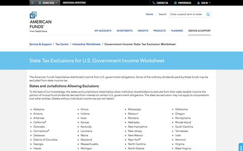 State Tax Exclusions for U.S. Government Income Worksheet