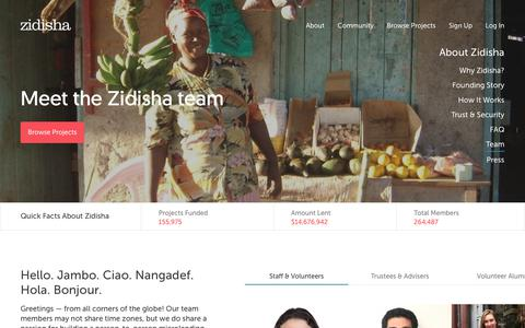 Screenshot of Team Page zidisha.org - Zidisha       Team - captured Sept. 19, 2018