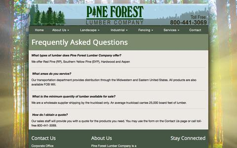 Screenshot of FAQ Page pflumber.com - Pine Forest Lumber Company | Frequently Asked Questions - captured Jan. 28, 2016