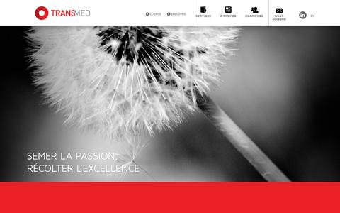 Screenshot of Home Page centretransmed.ca - TRANSMED - SEMER LA PASSION, RÉCOLTER L'EXCELLENCE - captured Oct. 9, 2015