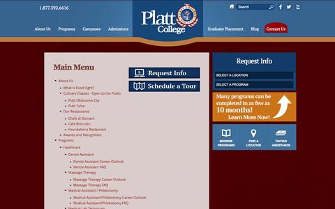 Screenshot of Site Map Page plattcolleges.edu - Site Map | Platt College - captured Sept. 24, 2014