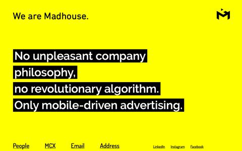 Screenshot of Home Page madebymadhouse.com - Madhouse | Mobile-driven advertising - captured Nov. 3, 2018