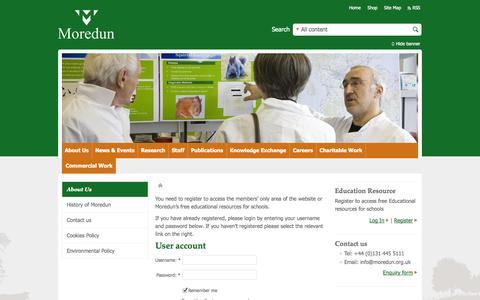 Screenshot of Login Page moredun.org.uk - User account | Moredun United Kingdom UK - captured Oct. 26, 2014