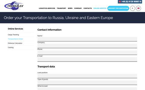 Screenshot of Contact Page transalex.com - Transportation order for russia and ukraine transport - captured Oct. 24, 2018