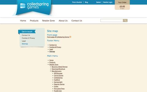 Screenshot of Site Map Page coiledspring.co.uk - Site map | Coiledspring Games - captured Oct. 3, 2014