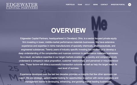 Screenshot of About Page edgewatercapital.com - About | Edgewater Capital Partners - captured Jan. 26, 2016