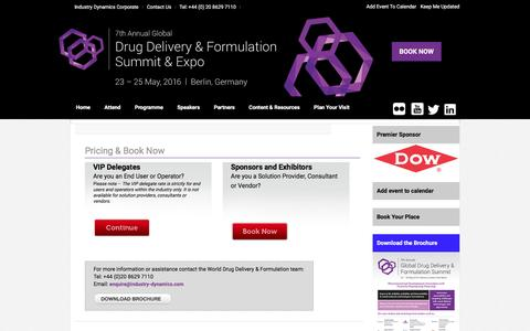 Screenshot of Pricing Page ddfevent.com - Drug Delivery & Formulation Summit - Join 200+ industry professionals - captured April 23, 2016