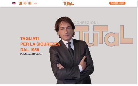 Screenshot of Home Page tutal.it - Confezioni Tutal - Sicurezza sul lavoro dal 1958 - captured Oct. 7, 2014
