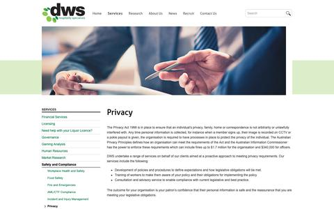 Screenshot of Privacy Page dws.net.au - Privacy | DWS - captured Oct. 7, 2018