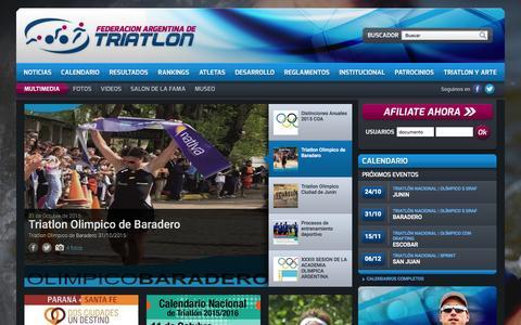 Screenshot of Home Page triatlon.org.ar - Federación Argentina de Triatlon - captured Oct. 19, 2015