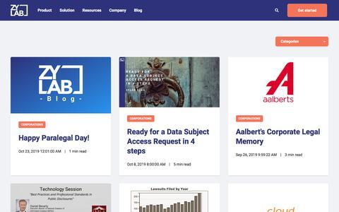 Screenshot of Blog zylab.com - ZyLAB Blog - captured Nov. 4, 2019