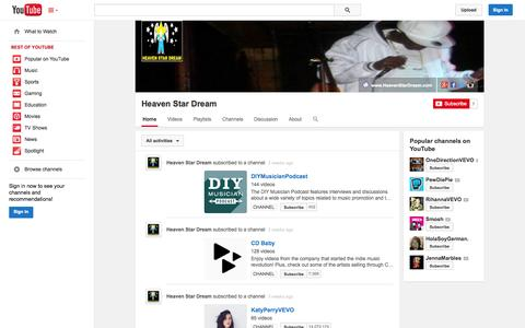 Screenshot of YouTube Page youtube.com - Heaven Star Dream  - YouTube - captured Oct. 23, 2014