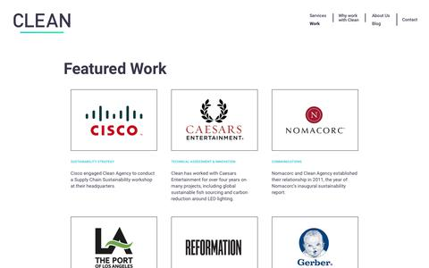 Screenshot of Case Studies Page cleanagency.com - Clean Agency Sustainability Consulting Los Angeles: Case Studies - captured July 18, 2018