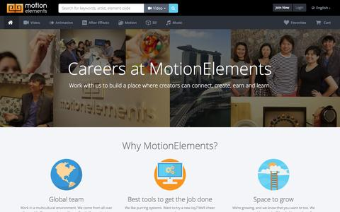 Screenshot of Jobs Page motionelements.com - Careers | Royalty-Free Stock Animation, Video Footage, 3D Models, After Effects Templates | MotionElements - captured Jan. 14, 2016