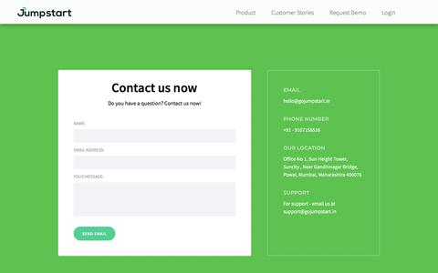Screenshot of Contact Page gojumpstart.in - Contact 1 - captured July 17, 2019