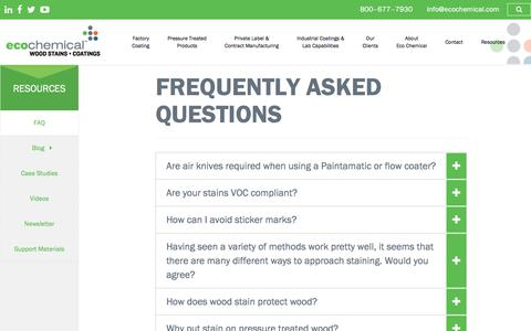 Screenshot of FAQ Page ecochemical.com - Frequently Asked Questions - Eco Chemical™ Wood Stains and Coatings - captured July 16, 2018