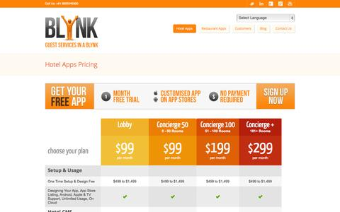 Screenshot of Pricing Page blynk.it - Hotel Apps Pricing - Blynk Systems Pvt. Ltd. - captured Oct. 1, 2014