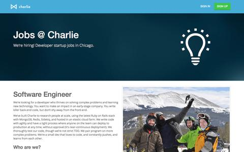 Screenshot of Jobs Page charlieapp.com - Charlie App | Developer Startup Jobs Chicago.  We're hiring. - captured Dec. 16, 2014
