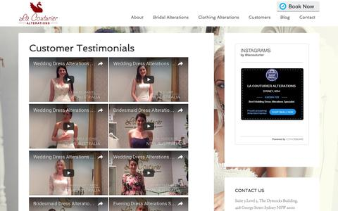 Screenshot of Testimonials Page lacouturier.com.au - Customer Testimonials | La Couturier Alterations - captured Oct. 14, 2016