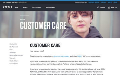 Screenshot of Support Page nau.com - Customer Care | Nau Clothing - captured Nov. 3, 2014
