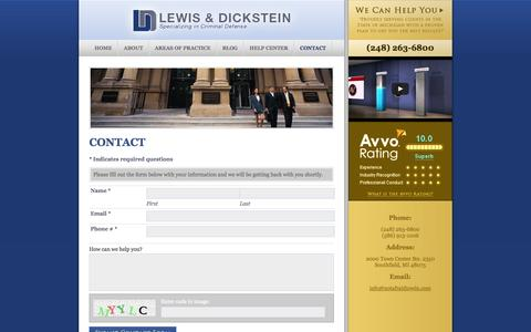 Screenshot of Contact Page notafraidtowin.com - Contact a Criminal Defense Attorney Southfield MI | 248-263-6800 - captured Oct. 2, 2014