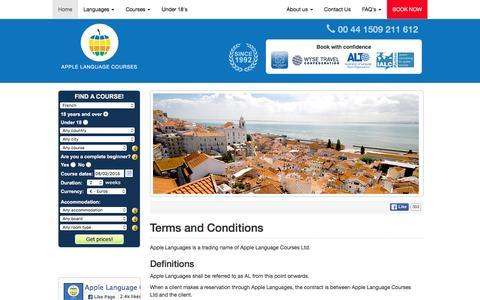 Screenshot of Terms Page applelanguages.com - Apple Languages | Terms and Conditions - captured Feb. 6, 2016