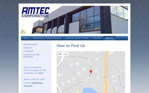 Screenshot of Maps & Directions Page amtec-corp.com - Amtec Corporation - Directions - captured Oct. 8, 2017