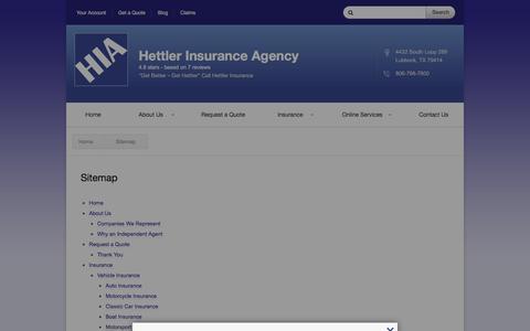 Screenshot of Site Map Page hettlerinsurance.com - Sitemap | Hettler Insurance Agency - captured Jan. 28, 2016