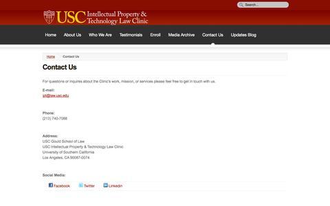 Screenshot of Contact Page usc.edu - Contact Us - captured Sept. 18, 2014