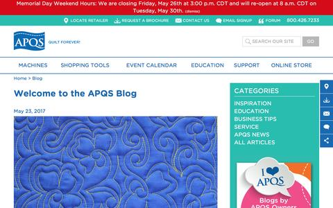Screenshot of Blog apqs.com - Blog | APQS - captured May 28, 2017