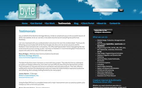 Screenshot of Testimonials Page byte-productions.com - Byte Productions:: Testimonials : Byte Productions LLC - captured Oct. 5, 2014